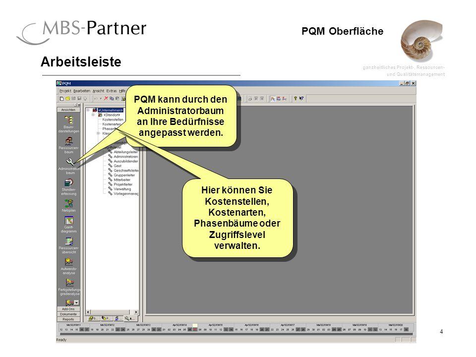 ganzheitliches Projekt-, Ressourcen- und Qualitätsmanagement 5 PQM Oberfläche Arbeitsleiste Über die Überschriften können Sie die einzelnen Bereiche der Arbeitsleiste durchschalten.