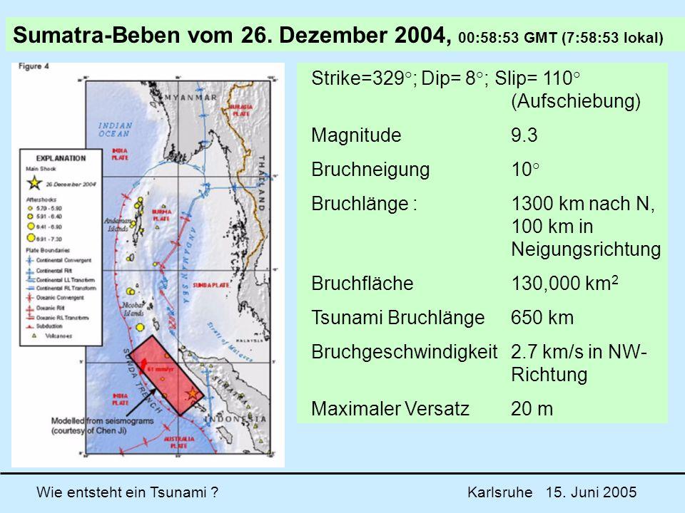 Wie entsteht ein Tsunami ? Karlsruhe 15. Juni 2005 Strike=329°; Dip= 8°; Slip= 110° (Aufschiebung) Magnitude9.3 Bruchneigung10° Bruchlänge : 1300 km n
