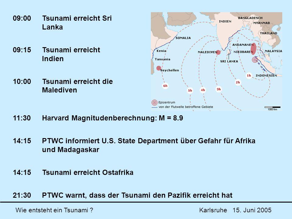 Wie entsteht ein Tsunami ? Karlsruhe 15. Juni 2005 09:00Tsunami erreicht Sri Lanka 09:15Tsunami erreicht Indien 10:00Tsunami erreicht die Malediven 11