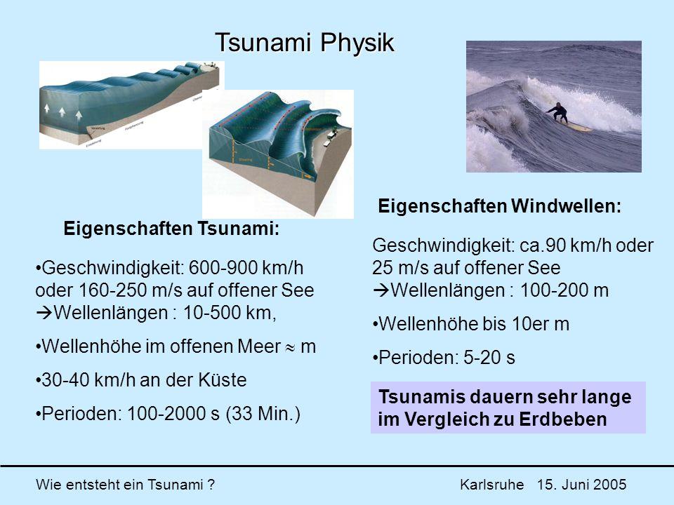 Wie entsteht ein Tsunami ? Karlsruhe 15. Juni 2005 Tsunami Physik Geschwindigkeit: 600-900 km/h oder 160-250 m/s auf offener See Wellenlängen : 10-500