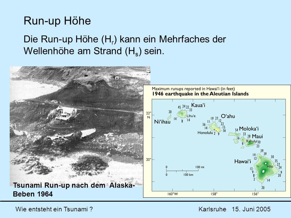 Wie entsteht ein Tsunami ? Karlsruhe 15. Juni 2005 Run-up Höhe Die Run-up Höhe (H r ) kann ein Mehrfaches der Wellenhöhe am Strand (H s ) sein. Tsunam