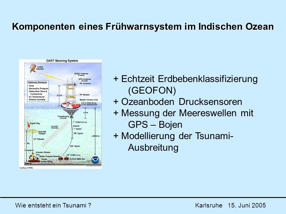 Wie entsteht ein Tsunami ? Karlsruhe 15. Juni 2005 Komponenten eines Frühwarnsystem im Indischen Ozean + Echtzeit Erdbebenklassifizierung (GEOFON) + O