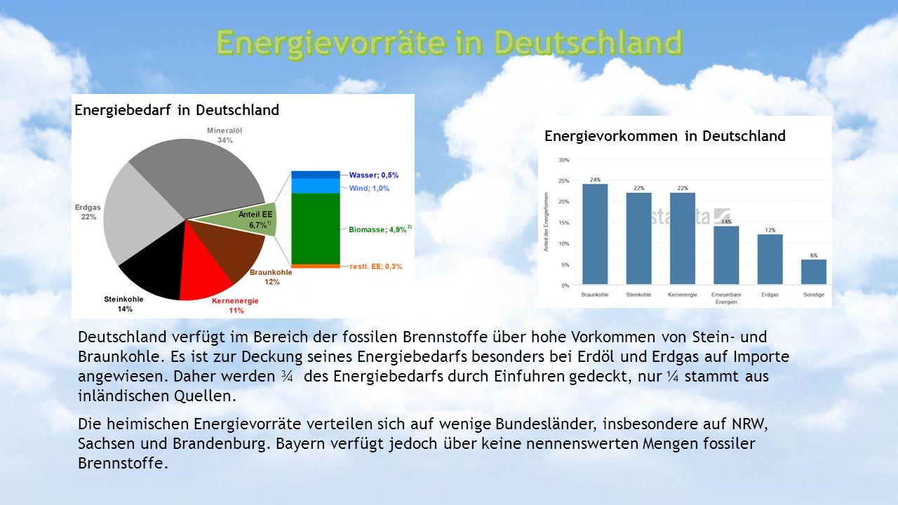 Deutschland verfügt im Bereich der fossilen Brennstoffe über hohe Vorkommen von Stein- und Braunkohle. Es ist zur Deckung seines Energiebedarfs besond