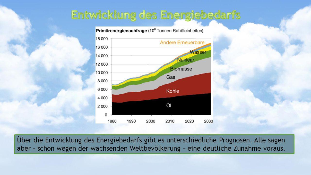 Über die Entwicklung des Energiebedarfs gibt es unterschiedliche Prognosen. Alle sagen aber – schon wegen der wachsenden Weltbevölkerung – eine deutli