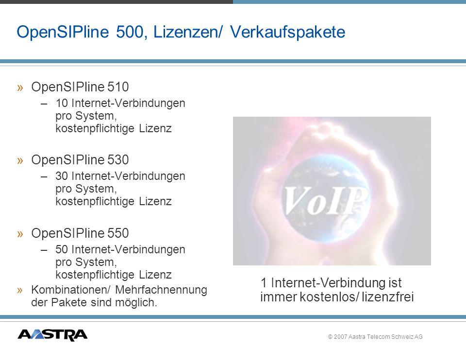 © 2007 Aastra Telecom Schweiz AG OpenSIPline 500, overview Splitter, for xDSL Router, (with DSL-Modem for xDSL) Switch LAN ISDN NTBA Internet Provider 1 PSTNGSM Provider 2