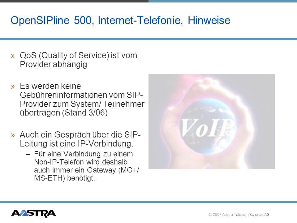 © 2007 Aastra Telecom Schweiz AG CLIP based Routing, OpenAttendant 500, Funktionalität PSTN 030 6104 4711 0170 4504 123