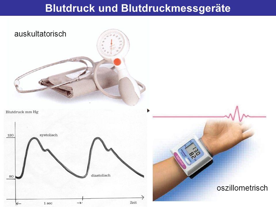 Blutdruck und Blutdruckmessgeräte auskultatorisch oszillometrisch