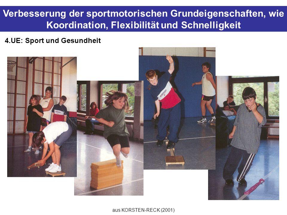 aus KORSTEN-RECK (2001) Verbesserung der sportmotorischen Grundeigenschaften, wie Koordination, Flexibilität und Schnelligkeit 4.UE: Sport und Gesundh