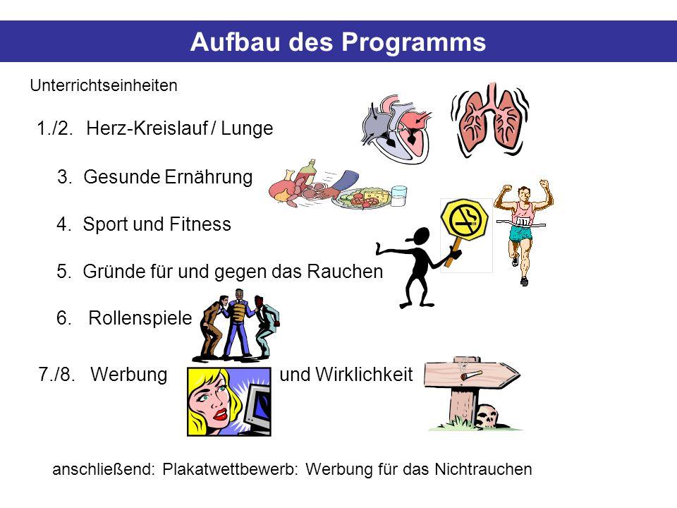 Aufbau des Programms 3. Gesunde Ernährung 1./2. Herz-Kreislauf / Lunge 4. Sport und Fitness 5. Gründe für und gegen das Rauchen 7./8. Werbung und Wirk