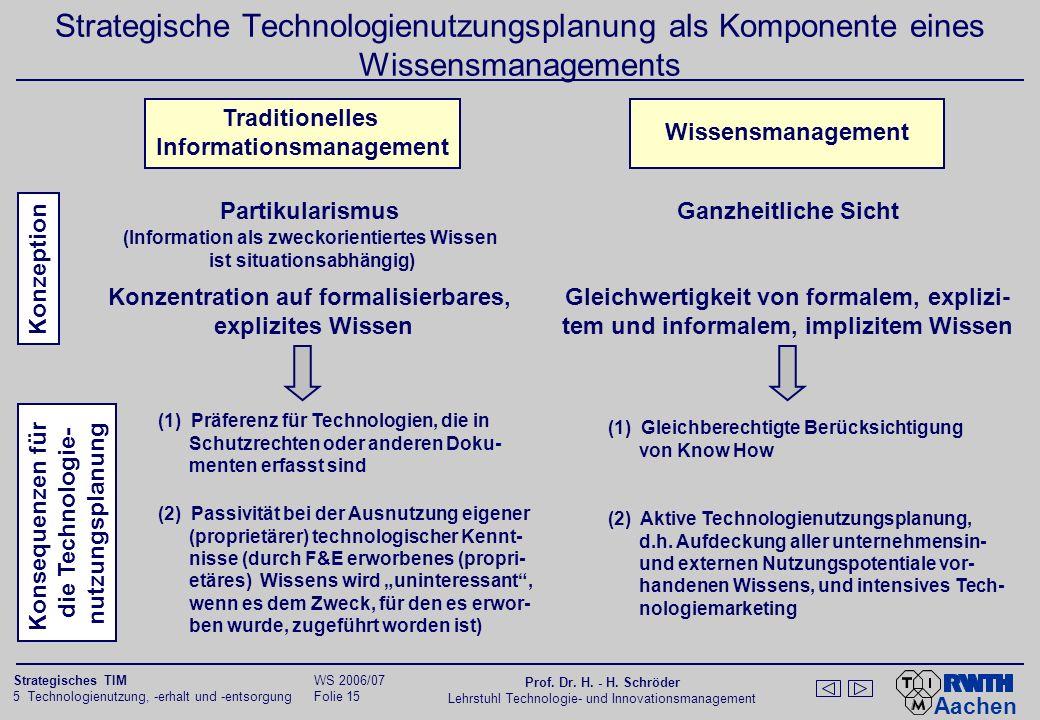 Aachen 5 Technologienutzung, -erhalt und -entsorgung Folie 14 Strategisches TIM WS 2006/07 Prof. Dr. H. - H. Schröder Lehrstuhl Technologie- und Innov