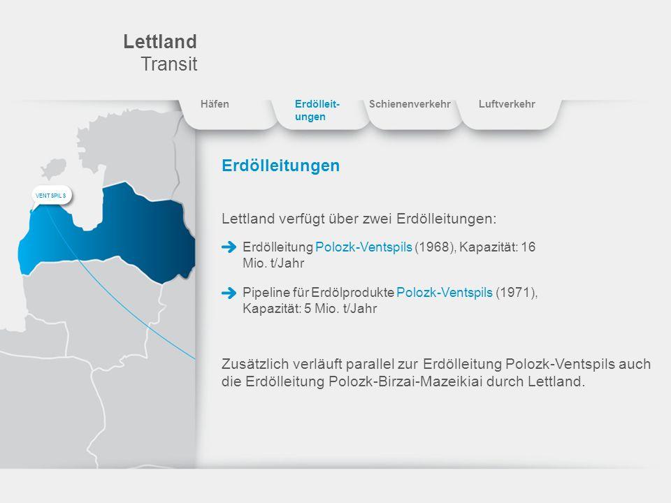 Lettland Transit Erdölleitungen Lettland verfügt über zwei Erdölleitungen: Erdölleitung Polozk-Ventspils (1968), Kapazität: 16 Mio. t/Jahr Pipeline fü