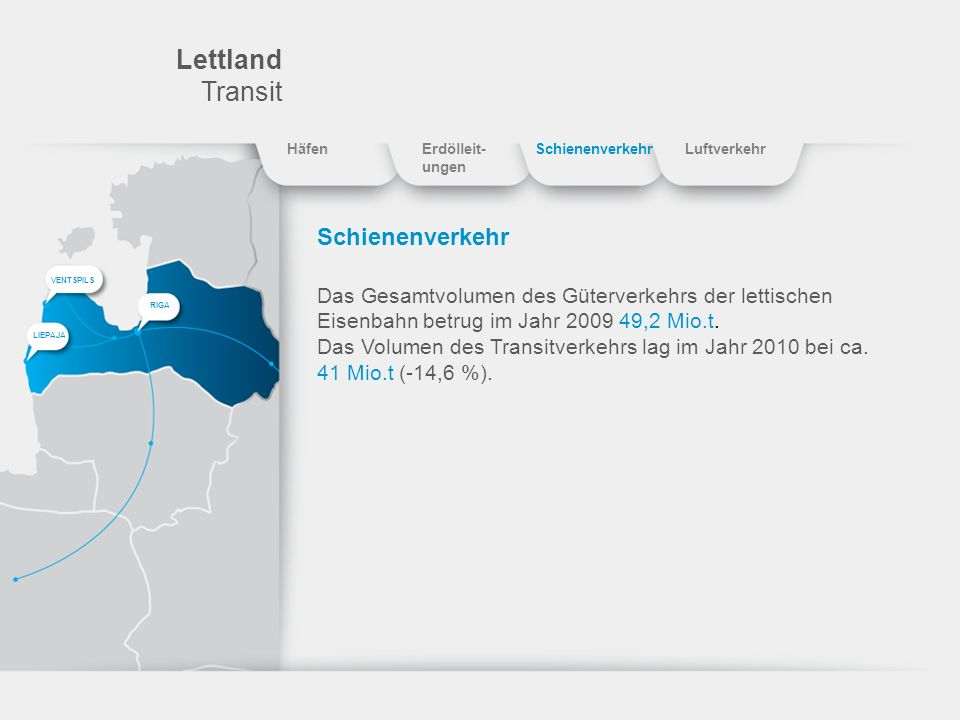 Lettland Transit Schienenverkehr Das Gesamtvolumen des Güterverkehrs der lettischen Eisenbahn betrug im Jahr 2009 49,2 Mio.t. Das Volumen des Transitv