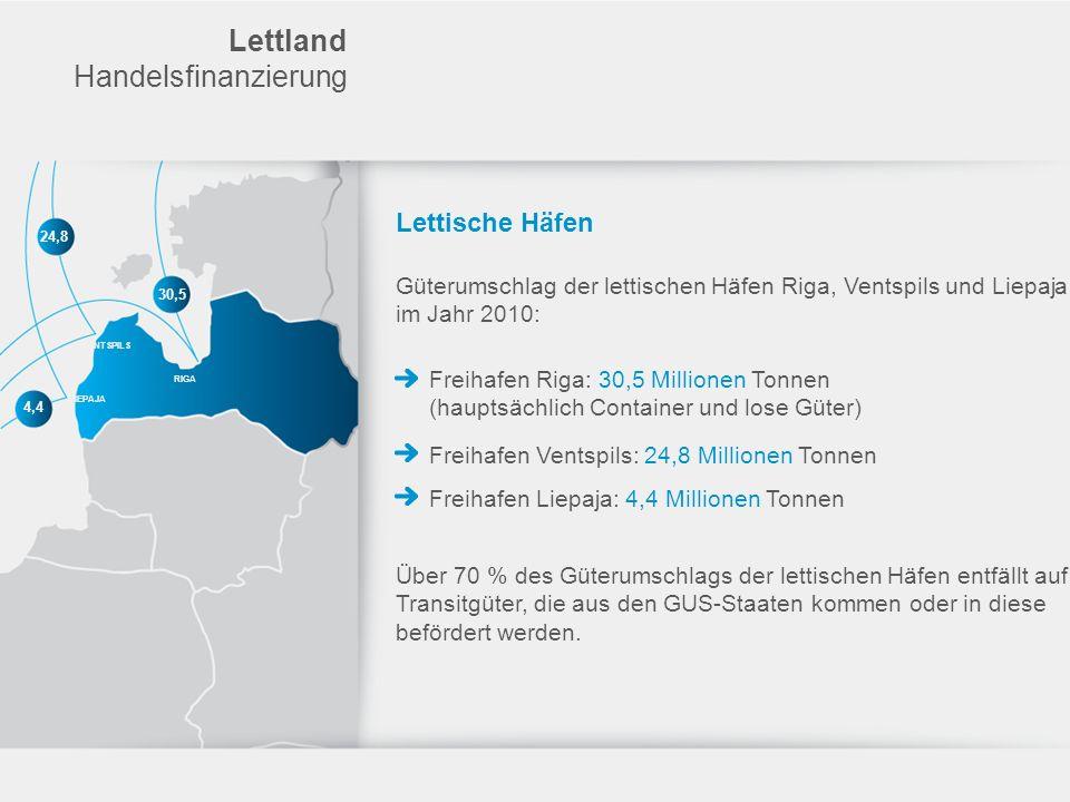 Lettland Handelsfinanzierung Lettische Häfen Güterumschlag der lettischen Häfen Riga, Ventspils und Liepaja im Jahr 2010: Freihafen Riga: 30,5 Million