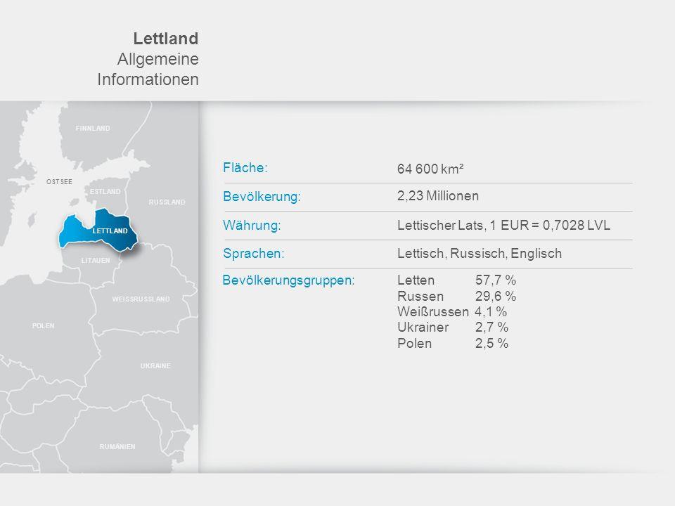 Lettland Allgemeine Informationen Fläche: 64 600 km² Bevölkerung: Währung: Sprachen: Bevölkerungsgruppen: 2,23 Millionen Lettischer Lats, 1 EUR = 0,70