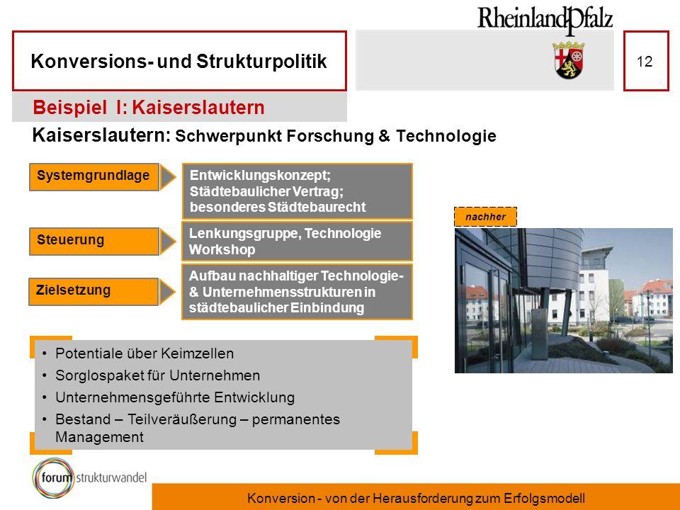 Konversions- und Strukturpolitik Konversion - von der Herausforderung zum Erfolgsmodell 12 Kaiserslautern: Schwerpunkt Forschung & Technologie Beispie