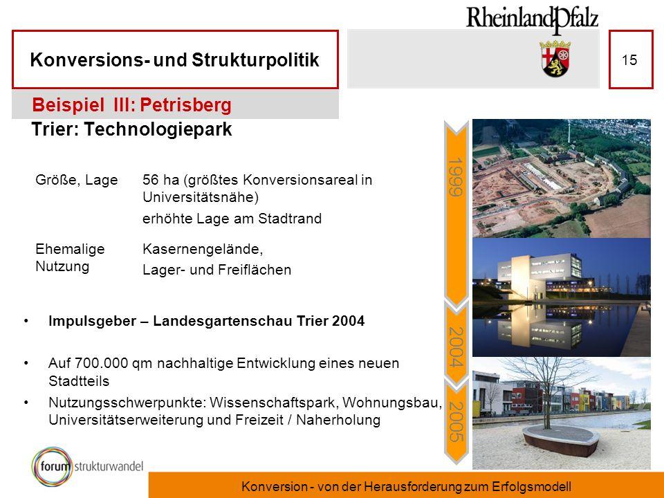 Konversions- und Strukturpolitik Konversion - von der Herausforderung zum Erfolgsmodell 15 Trier: Technologiepark Beispiel III: Petrisberg Impulsgeber