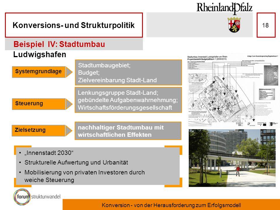 Konversions- und Strukturpolitik Konversion - von der Herausforderung zum Erfolgsmodell 18 Ludwigshafen Beispiel IV: Stadtumbau Systemgrundlage Steuer