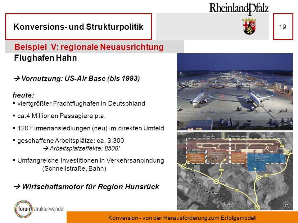 Konversions- und Strukturpolitik Konversion - von der Herausforderung zum Erfolgsmodell 19 Flughafen Hahn Beispiel V: regionale Neuausrichtung Vornutz