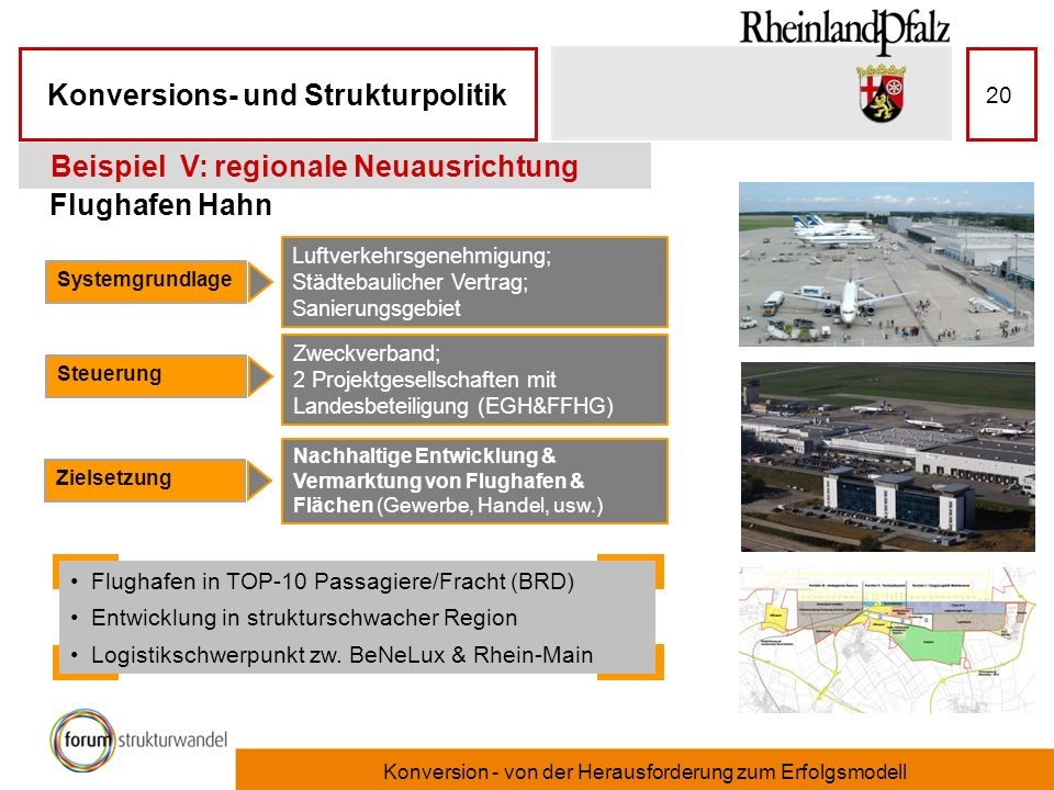 Konversions- und Strukturpolitik Konversion - von der Herausforderung zum Erfolgsmodell 20 Flughafen Hahn Beispiel V: regionale Neuausrichtung Systemg