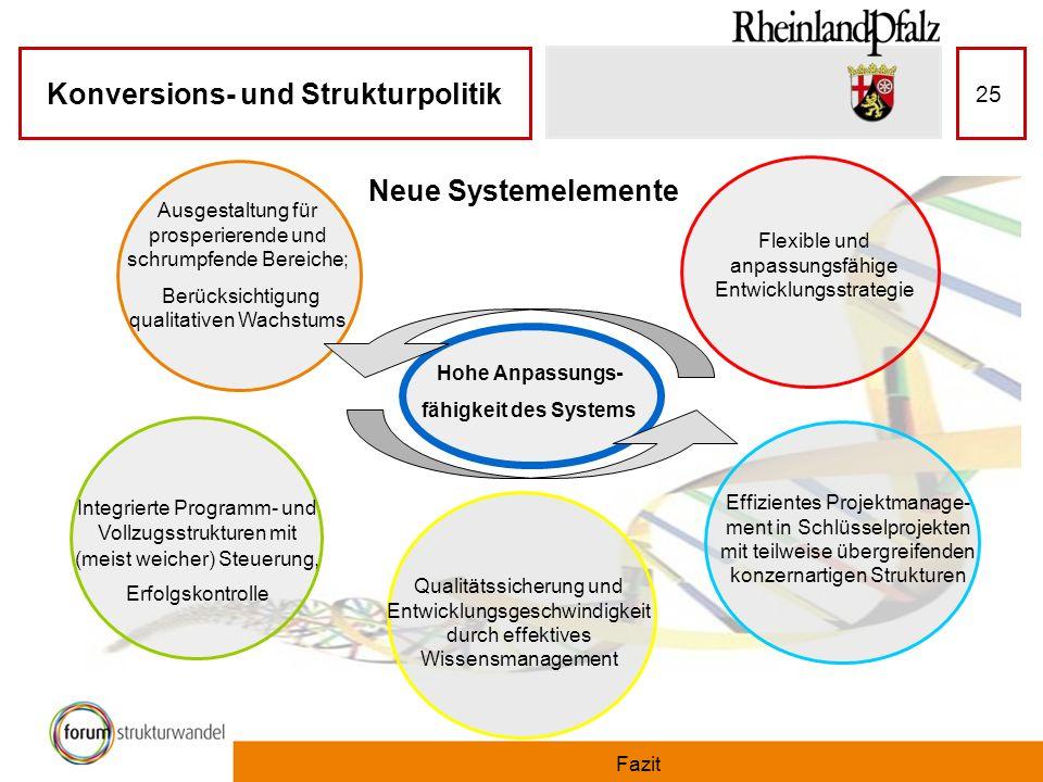 Konversions- und Strukturpolitik Fazit 25 Neue Systemelemente Hohe Anpassungs- fähigkeit des Systems Effizientes Projektmanage- ment in Schlüsselproje