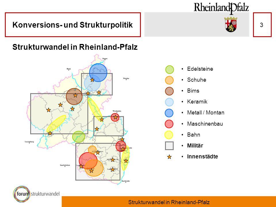 Konversions- und Strukturpolitik Strukturwandel in Rheinland-Pfalz 3 Edelsteine Schuhe Bims Keramik Metall / Montan Maschinenbau Bahn Militär Innenstä