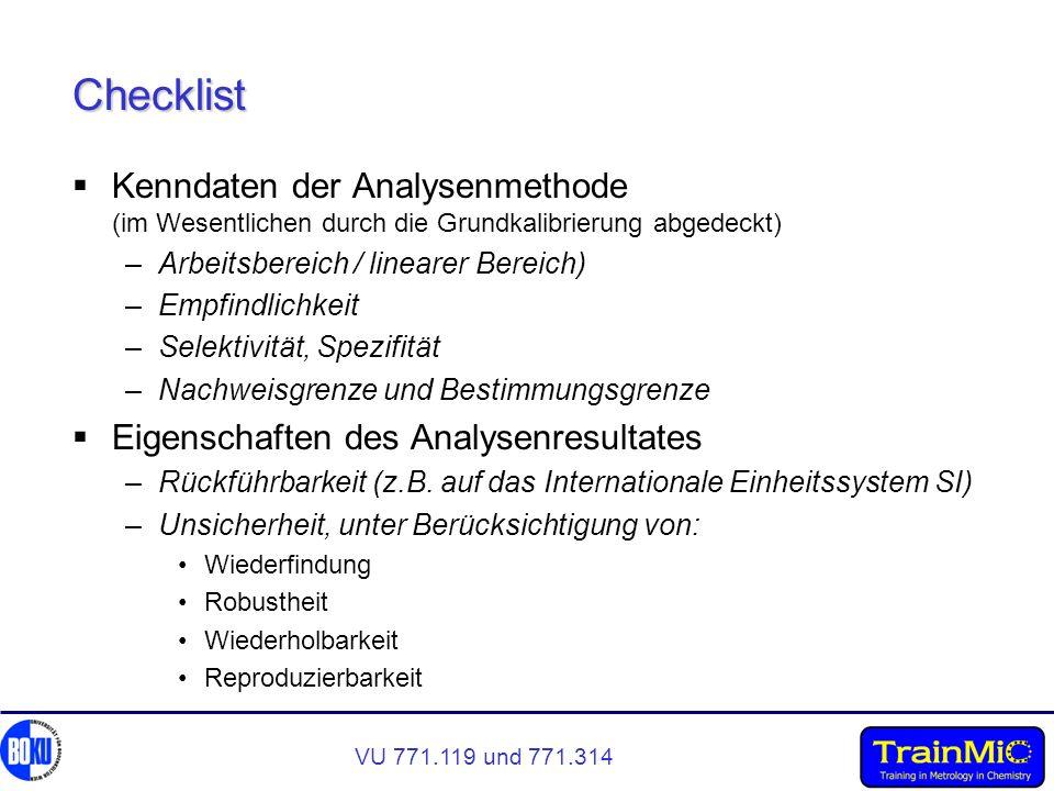 VU 771.119 und 771.314 Checklist Kenndaten der Analysenmethode (im Wesentlichen durch die Grundkalibrierung abgedeckt) –Arbeitsbereich / linearer Bere