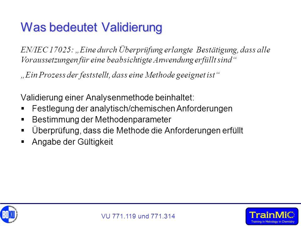 VU 771.119 und 771.314 Was bedeutet Validierung Validierung einer Analysenmethode beinhaltet: Festlegung der analytisch/chemischen Anforderungen Besti