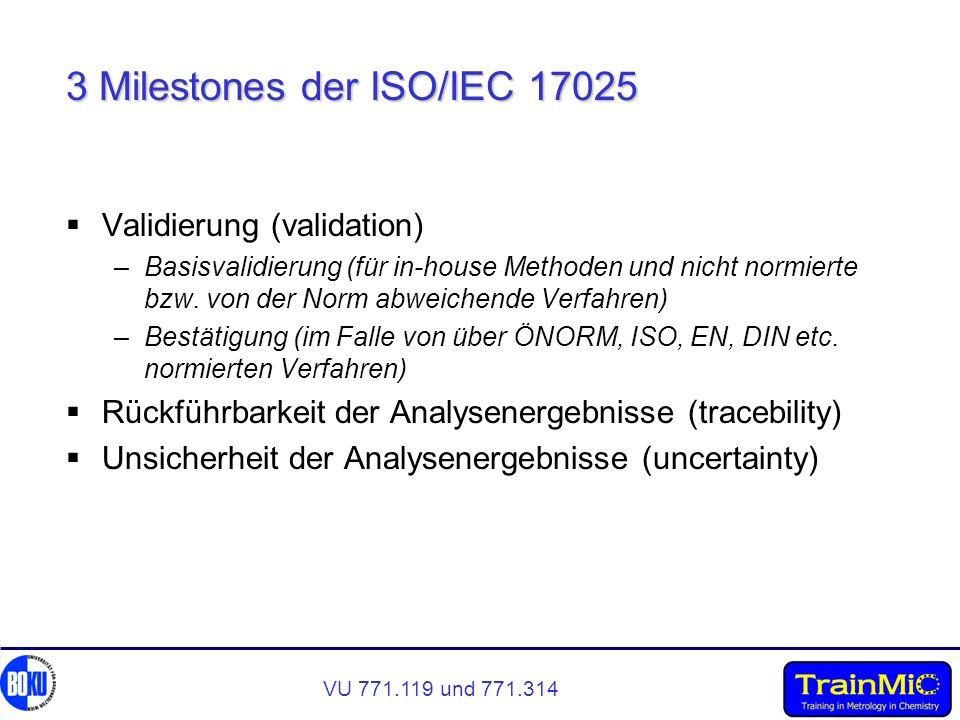 VU 771.119 und 771.314 3 Milestones der ISO/IEC 17025 Validierung (validation) –Basisvalidierung (für in-house Methoden und nicht normierte bzw. von d