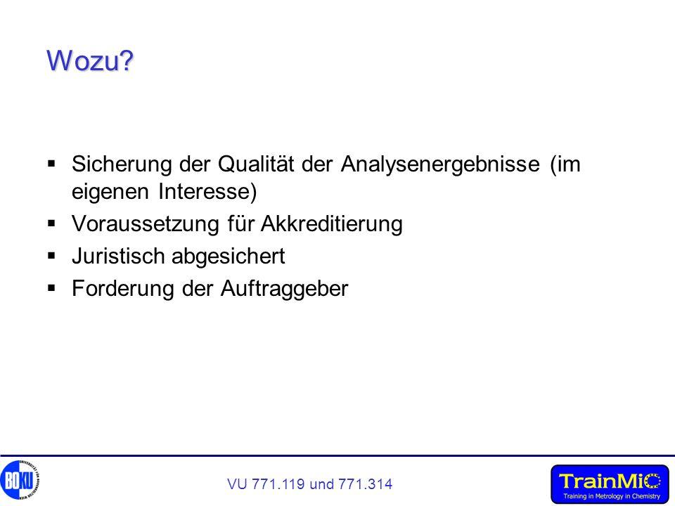 VU 771.119 und 771.314 Wozu? Sicherung der Qualität der Analysenergebnisse (im eigenen Interesse) Voraussetzung für Akkreditierung Juristisch abgesich