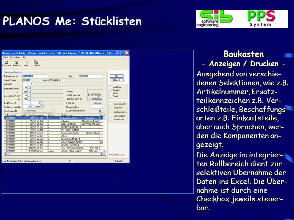 PLANOS Me: Stücklisten Stückliste verwalten - Ersatzartikel - Für jeden Komponenten- artikel stehen beliebig de- finierbare Ersatzartikel zur Verfügung.