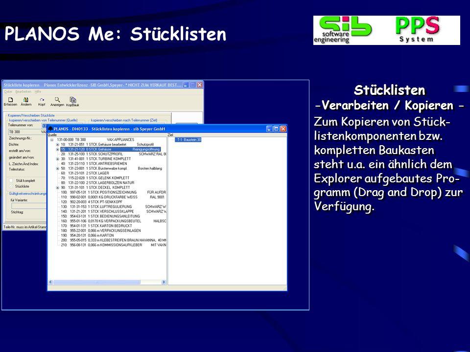 PLANOS Me: Stücklisten Baukasten - Anzeigen / Drucken - Das Formular ist individuell frei definierbar, u.a.