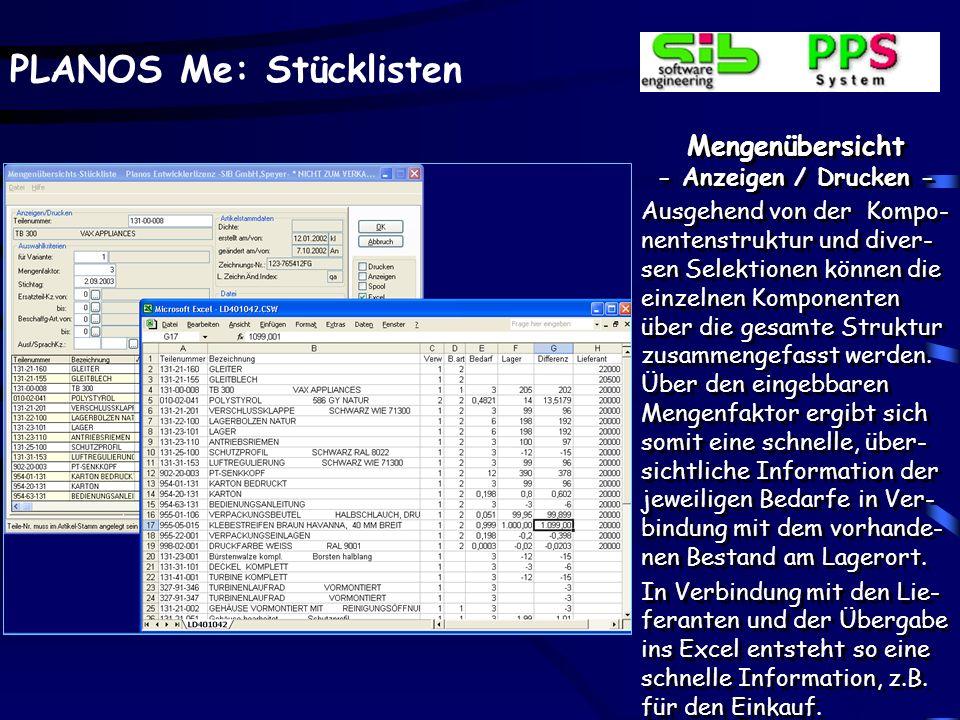 PLANOS Me: Stücklisten Strukturstückliste - Anzeigen / Drucken – Zusätzlich zum Ausdrucken eines individuellen Formu- lars kann dieses auch am Bildschirm in der gleichen Form dargestellt werden.