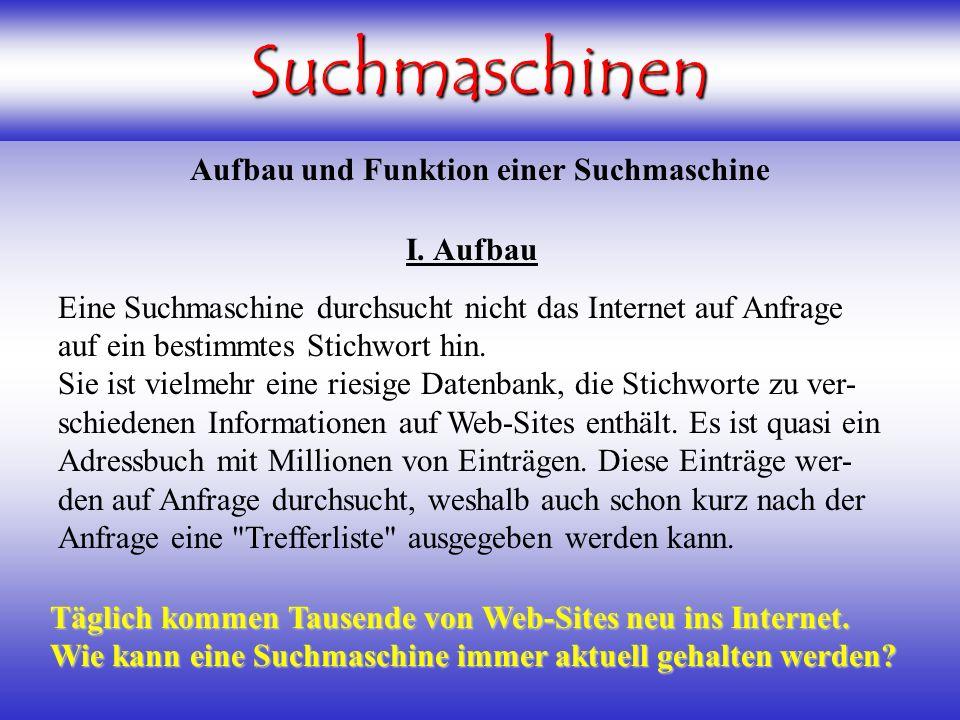 Suchmaschinen Aufbau und Funktion einer Suchmaschine I.