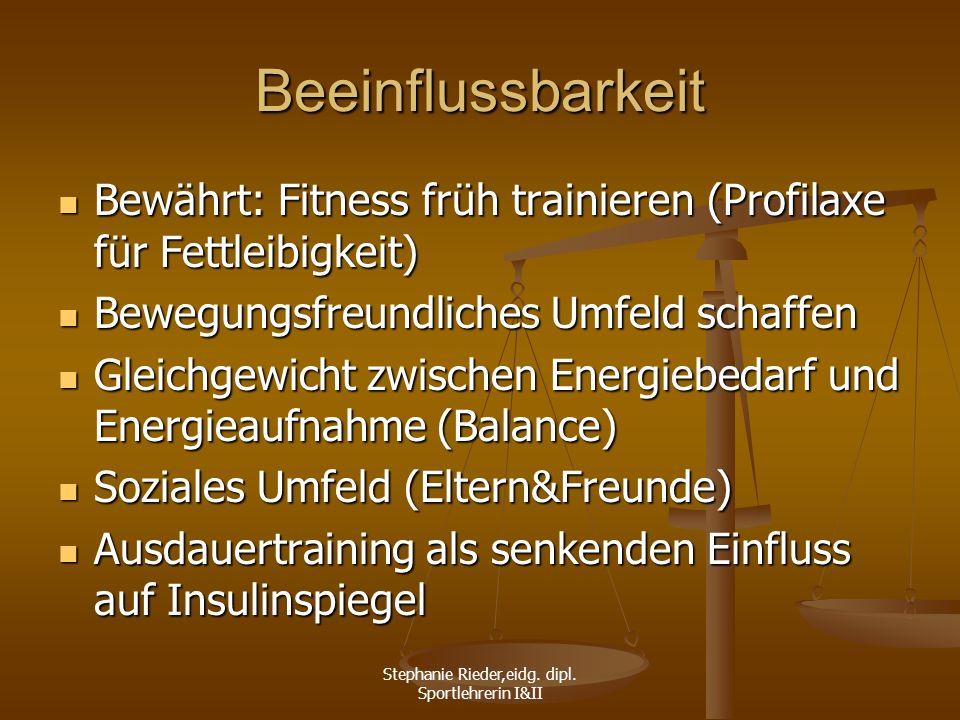 Stephanie Rieder,eidg. dipl. Sportlehrerin I&II Beeinflussbarkeit Bewährt: Fitness früh trainieren (Profilaxe für Fettleibigkeit) Bewährt: Fitness frü