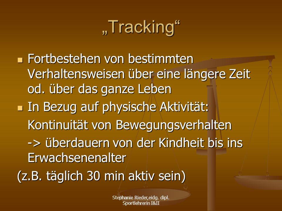 Stephanie Rieder,eidg. dipl. Sportlehrerin I&II Tracking Fortbestehen von bestimmten Verhaltensweisen über eine längere Zeit od. über das ganze Leben