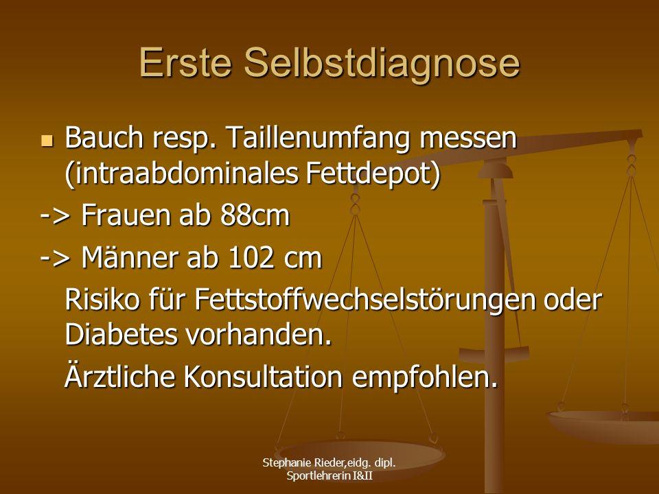 Stephanie Rieder,eidg. dipl. Sportlehrerin I&II Erste Selbstdiagnose Bauch resp. Taillenumfang messen (intraabdominales Fettdepot) Bauch resp. Taillen