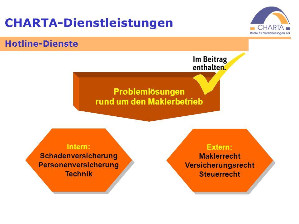 CHARTA-Dienstleistungen Problemlösungen rund um den Maklerbetrieb Intern: Schadenversicherung Personenversicherung Technik Intern: Schadenversicherung