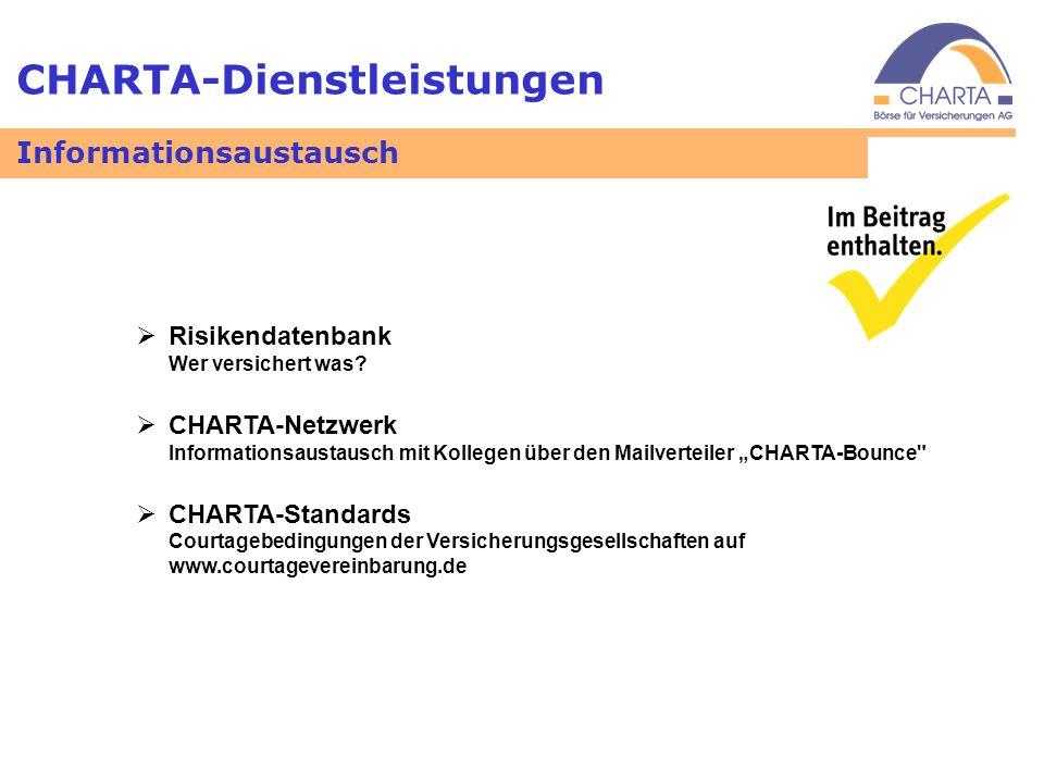 CHARTA-Dienstleistungen Informationsaustausch Risikendatenbank Wer versichert was? CHARTA-Netzwerk Informationsaustausch mit Kollegen über den Mailver