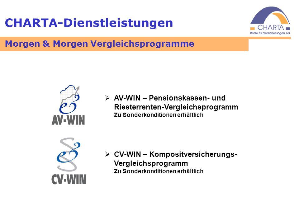 CHARTA-Dienstleistungen AV-WIN – Pensionskassen- und Riesterrenten-Vergleichsprogramm Zu Sonderkonditionen erhältlich CV-WIN – Kompositversicherungs-
