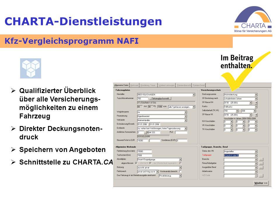 CHARTA-Dienstleistungen Qualifizierter Überblick über alle Versicherungs- möglichkeiten zu einem Fahrzeug Direkter Deckungsnoten- druck Speichern von