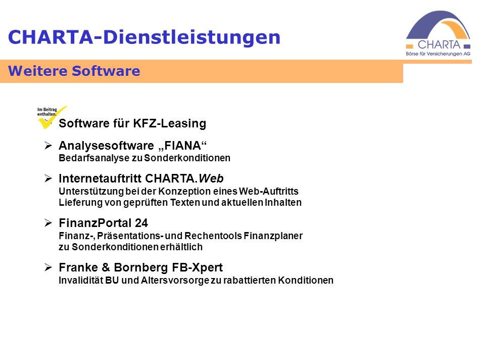 CHARTA-Dienstleistungen Software für KFZ-Leasing Analysesoftware FIANA Bedarfsanalyse zu Sonderkonditionen Internetauftritt CHARTA.Web Unterstützung b