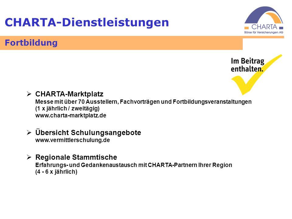 CHARTA-Dienstleistungen Fortbildung CHARTA-Marktplatz Messe mit über 70 Ausstellern, Fachvorträgen und Fortbildungsveranstaltungen (1 x jährlich / zwe