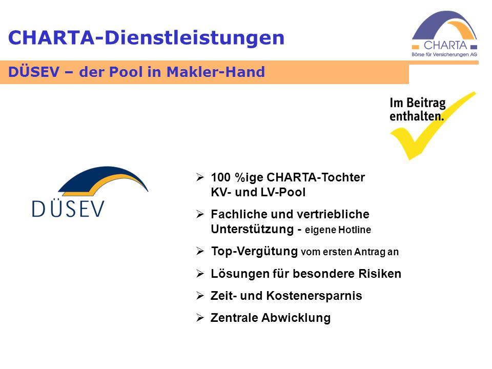CHARTA-Dienstleistungen 100 %ige CHARTA-Tochter KV- und LV-Pool Fachliche und vertriebliche Unterstützung - eigene Hotline Top-Vergütung vom ersten An