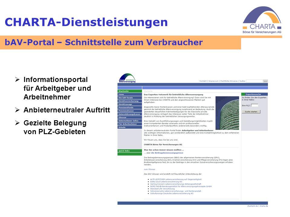 CHARTA-Dienstleistungen bAV-Portal – Schnittstelle zum Verbraucher Informationsportal für Arbeitgeber und Arbeitnehmer Anbieterneutraler Auftritt Gezi
