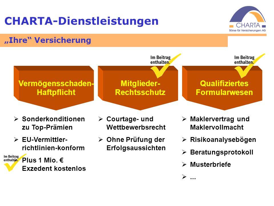 CHARTA-Dienstleistungen Vermögensschaden- Haftpflicht Mitglieder- Rechtsschutz Qualifiziertes Formularwesen Sonderkonditionen zu Top-Prämien EU-Vermit