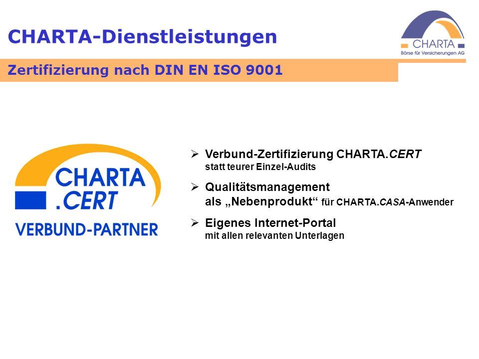 CHARTA-Dienstleistungen Zertifizierung nach DIN EN ISO 9001 Verbund-Zertifizierung CHARTA.CERT statt teurer Einzel-Audits Qualitätsmanagement als Nebe