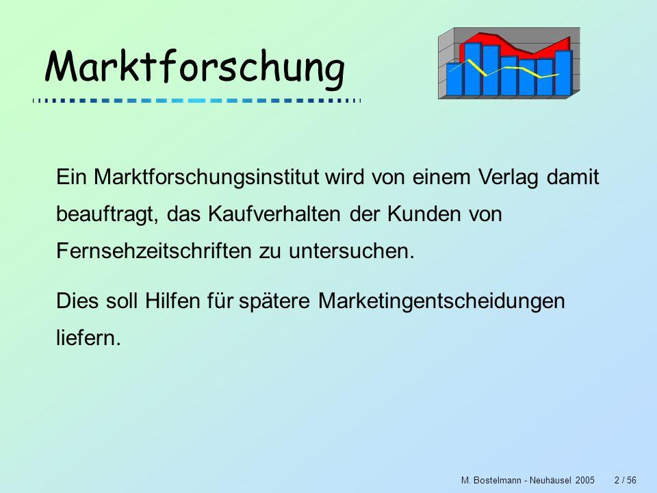 M. Bostelmann - Neuhäusel 20052 / 56 Marktforschung Ein Marktforschungsinstitut wird von einem Verlag damit beauftragt, das Kaufverhalten der Kunden v