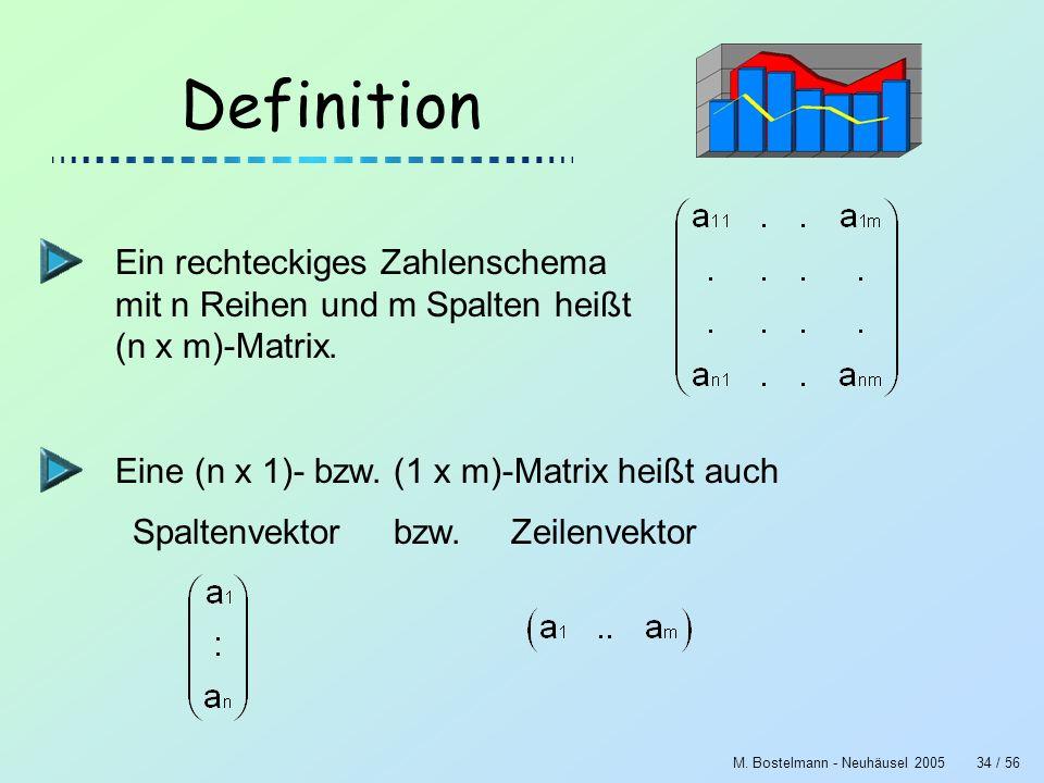 M. Bostelmann - Neuhäusel 200534 / 56 Definition Ein rechteckiges Zahlenschema mit n Reihen und m Spalten heißt (n x m)-Matrix. Eine (n x 1)- bzw. (1