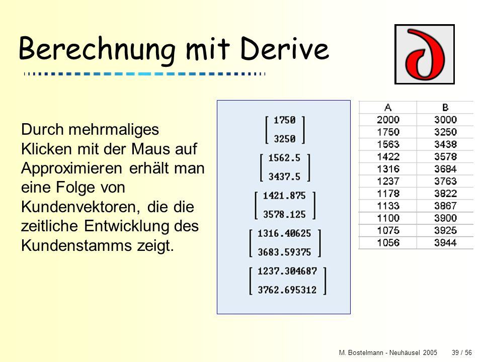 M. Bostelmann - Neuhäusel 200539 / 56 Berechnung mit Derive Durch mehrmaliges Klicken mit der Maus auf Approximieren erhält man eine Folge von Kundenv