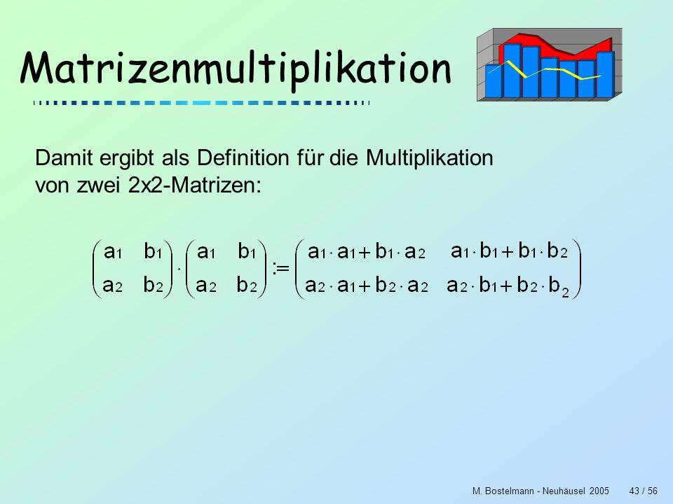 M. Bostelmann - Neuhäusel 200543 / 56 Matrizenmultiplikation Damit ergibt als Definition für die Multiplikation von zwei 2x2-Matrizen: